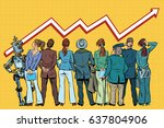 people and robot look at the... | Shutterstock .eps vector #637804906