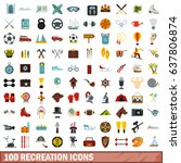 100 recreation icons set in... | Shutterstock .eps vector #637806874