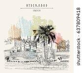 hyderabad  telangana state ... | Shutterstock .eps vector #637809418