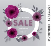 paper floral sale illustration | Shutterstock .eps vector #637811014