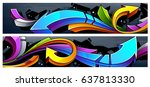 two horizontal banners with... | Shutterstock .eps vector #637813330