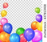 border of realistic colorful... | Shutterstock .eps vector #637813408