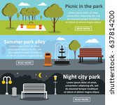 flat illustration of 3 park... | Shutterstock .eps vector #637814200