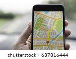 gps navigation on mobile phone...   Shutterstock . vector #637816444