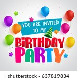 birthday party invitation... | Shutterstock .eps vector #637819834