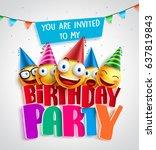 birthday party invitation... | Shutterstock .eps vector #637819843