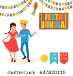 festa junina traditional... | Shutterstock .eps vector #637820110