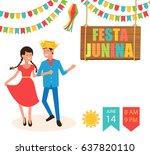festa junina traditional... | Shutterstock .eps vector #637820110