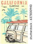surfing and camping... | Shutterstock .eps vector #637830940