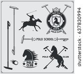 set of vintage horse polo club... | Shutterstock .eps vector #637830994