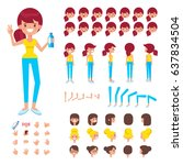 front  side  back view animated ... | Shutterstock .eps vector #637834504