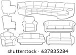 set of different couches and... | Shutterstock .eps vector #637835284