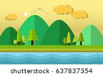 afternoon landscape | Shutterstock .eps vector #637837354