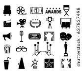 cinema icon set. flat vector... | Shutterstock .eps vector #637837498