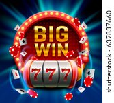 big win slots 777 banner casino.... | Shutterstock .eps vector #637837660