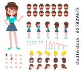 front  side  back view animated ... | Shutterstock .eps vector #637839673
