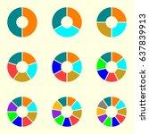 circle chart set. round pie... | Shutterstock . vector #637839913