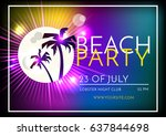 summer beach party vector flyer ... | Shutterstock .eps vector #637844698
