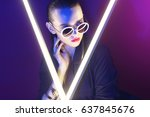 fashion portrait of young... | Shutterstock . vector #637845676