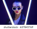 fashion portrait of young... | Shutterstock . vector #637845769