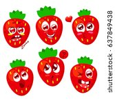 set of ripe red strawberry... | Shutterstock .eps vector #637849438