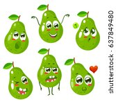 set of green pear characters... | Shutterstock .eps vector #637849480