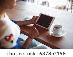 woman using digital tablet... | Shutterstock . vector #637852198