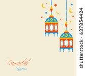 ramadan kareem beautiful... | Shutterstock .eps vector #637854424