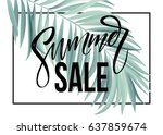sale banner  poster with palm... | Shutterstock .eps vector #637859674