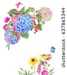 summer watercolor vintage... | Shutterstock . vector #637865344