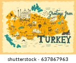 interesting map of turkey.... | Shutterstock .eps vector #637867963