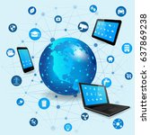internet of things concept with ... | Shutterstock .eps vector #637869238