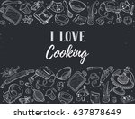 i love cooking. baking tools in ... | Shutterstock .eps vector #637878649