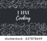 i love cooking. baking tools in ... | Shutterstock .eps vector #637878649