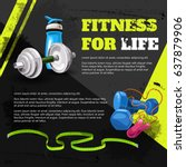 poster fitness for life in the... | Shutterstock .eps vector #637879906