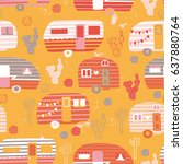 vector seamless camping pattern | Shutterstock .eps vector #637880764