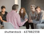 addiction counselor talking to... | Shutterstock . vector #637882558