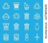 recycle icons set. set of 16... | Shutterstock .eps vector #637885600