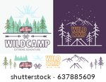forest camp linear vector... | Shutterstock .eps vector #637885609