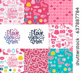 set vector i love you mom.... | Shutterstock .eps vector #637887784