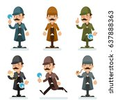 victorian detective gentleman... | Shutterstock .eps vector #637888363