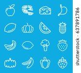 vegetarian icons set. set of 16 ... | Shutterstock .eps vector #637891786