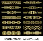 art deco vector line borders... | Shutterstock .eps vector #637893868