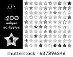 vector set 100 scribbles scrawl ... | Shutterstock .eps vector #637896346