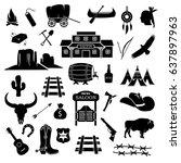 cowboy  western  wild west icon ... | Shutterstock .eps vector #637897963