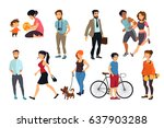 peoples walking on street.... | Shutterstock .eps vector #637903288