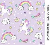 unicorn seamless pattern   Shutterstock .eps vector #637904083