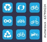 cycle icon. set of 9 filled... | Shutterstock .eps vector #637904224