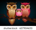 Owl Family Graphic Vector