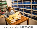 serious businessman looking at... | Shutterstock . vector #637906534